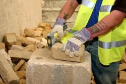 Dressed limestone walling