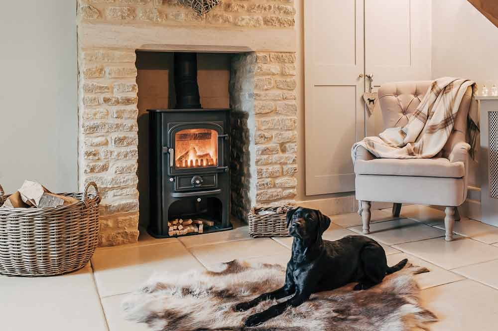 limestone surround log burner