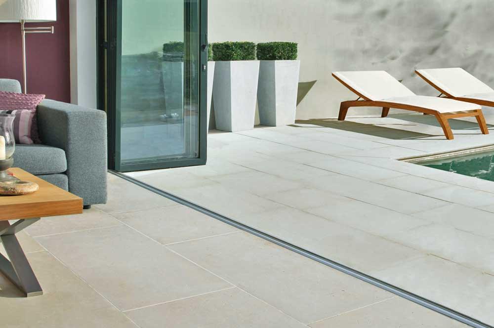 limestone flooring bifold doors