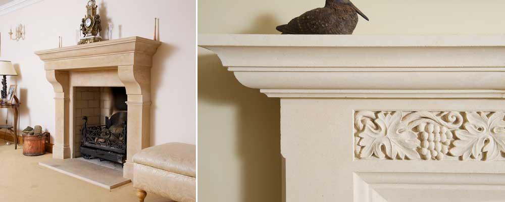 bespoke limestone fireplace