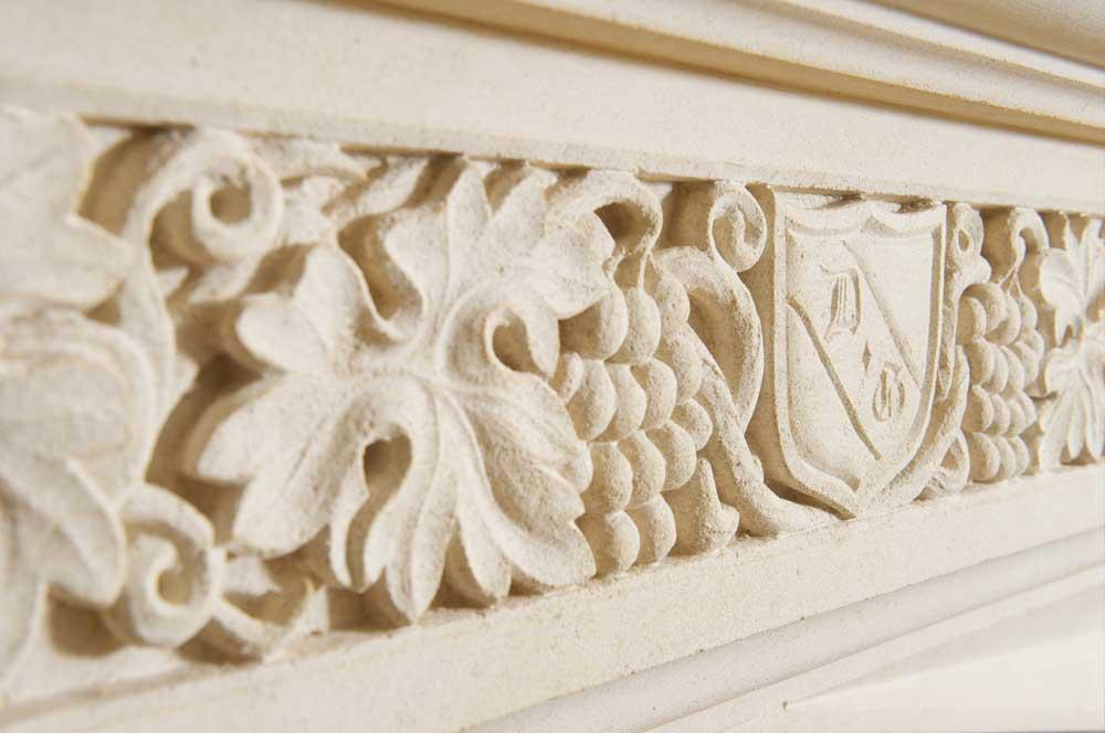 bespoke limestone fireplace detail