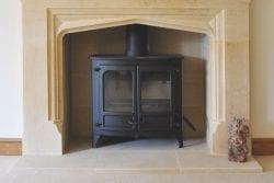 garden house interior limestone fireplace