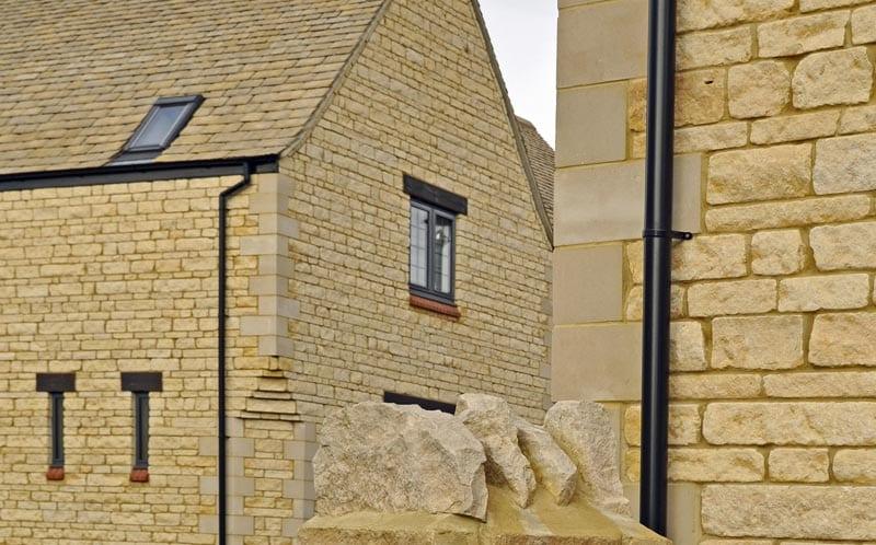 linden homes development limestone walling