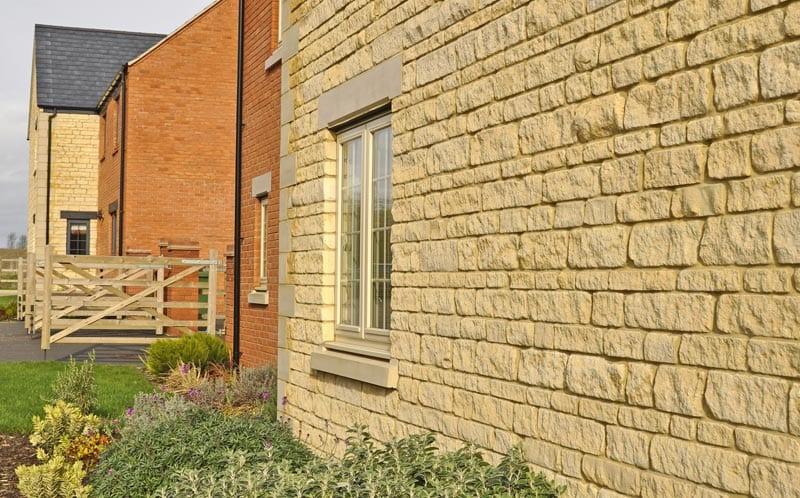 linden homes development limestone walling detail