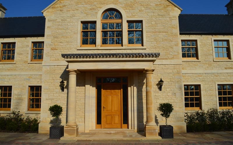 self build family home peterborough exterior stone portico