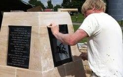 Barkston limestone memorial finishing touches