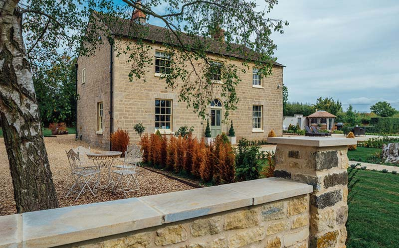 Lodge Farm Grey cropped walling Holden opus paving
